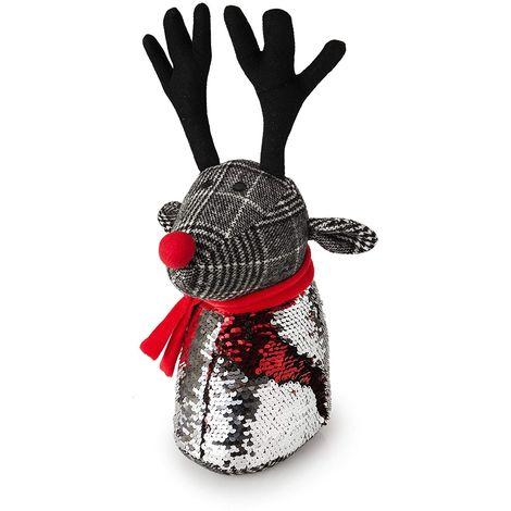 Dasher Red Nose Reindeer Two Tone Sequin - Winter Christmas Door Stop