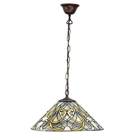 Dauphine Tiffany Medium 1Lt Ceiling Pendant Light Stained Glass Shade