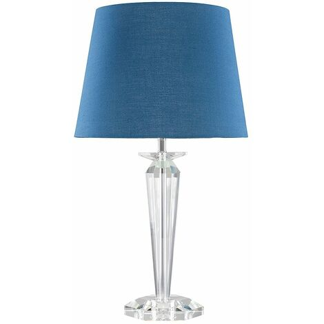 Davenport K9 Crystal Table Lamp With Tapered Shade & Frosted Warm White GLS LED Bulb - White
