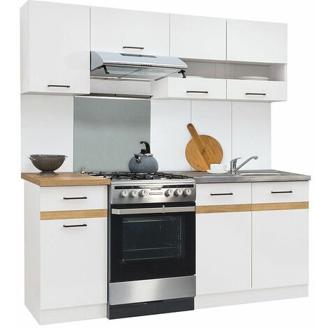 DAYAN | Cuisine complète | Style scandinave | Largeur 180 cm | Caissons bas et hauts+tiroir | Armoires cuisine - Blanc