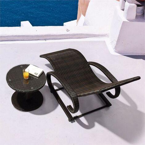 Daybreak Transat à bascule Lounge Brun Aluminium Rotin Look panier