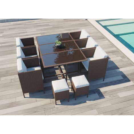 Daytona 10 : salon de jardin encastrable 10 places en résine tressée marron/blanc