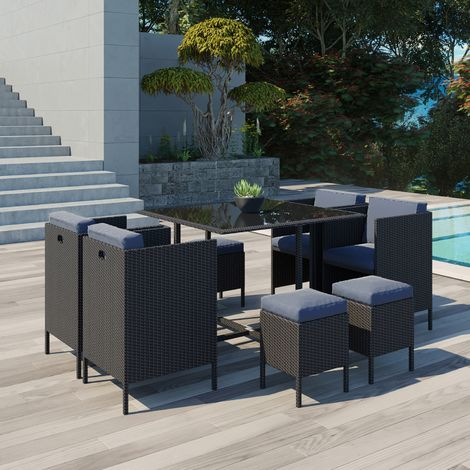 Salon De Jardin Encastrable 8 Places.Daytona 8 Salon De Jardin Encastrable 8 Places En Resine Tressee Noir Gris