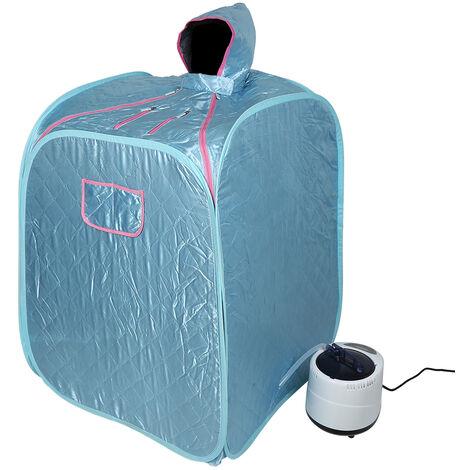 DazHom® 2.5L sauna bain bleu 80 x 80 x 100cm avec générateur de vapeur à usage unique.