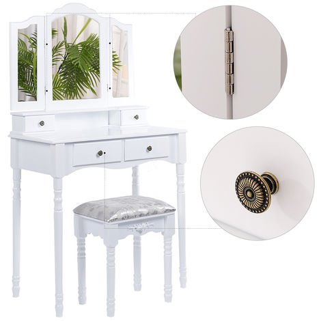 DazHom® 4 tiroirs 3 miroirs coiffeuse jambe ronde avec tabouret 142 * 80 * 40cm