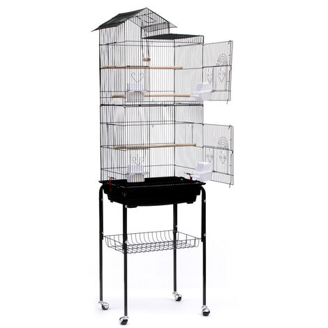 DazHom® Aviary Cage for Parrots Birds in Metal and Wood, with Pedestal Cart in the Shape of a Black House, 46 x 35.5 x 158.5cm