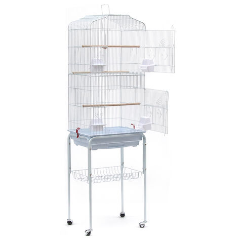 DazHom® Aviary Cage for Parrots Birds in Metal and Wood, with Pedestal Cart in the Shape of a White House, 46 x 35.3 x 150.6cm