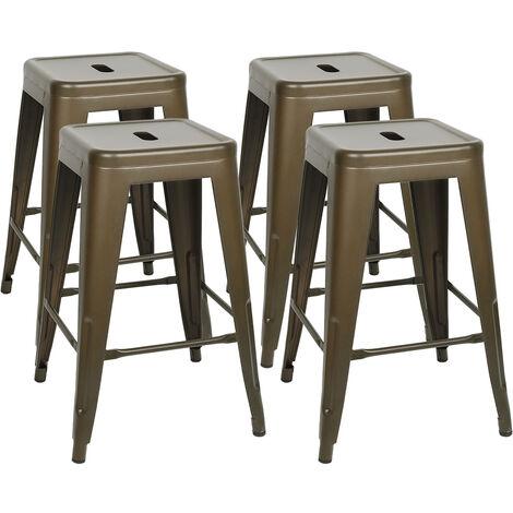 DazHom® Chaise haute empilable 4 pièces 61 * 40 * 40cm peinture couleur rouille mate