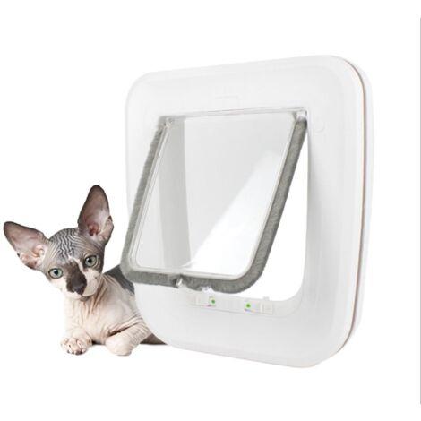 DazHom® Chatière petsafe 25.5 * 24.5 * 5.2cm porte magnétique blanche pour chat pour animaux de compagnie