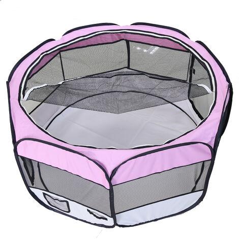 DazHom® Clôture pour animaux de compagnie ronde à huit côtés amovible et lavable rose