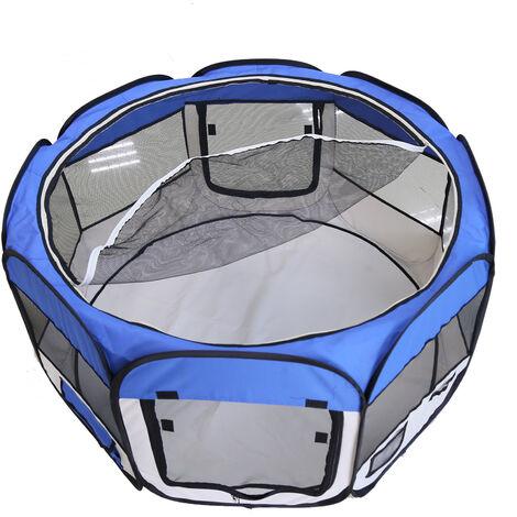 DazHom® Clôture ronde à huit côtés amovible et lavable pour animaux de compagnie bleue
