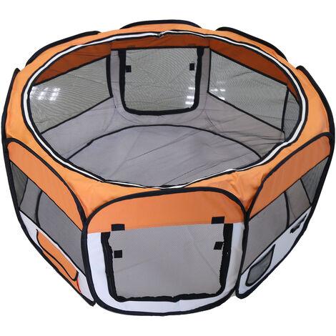 DazHom® Clôture ronde à huit côtés amovible et lavable pour animaux de compagnie orange