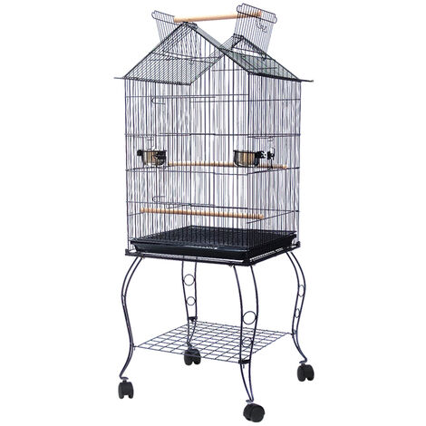 DazHom® Large Metal Rolling Bird Cage Parrot Aviary Canary Pet Perch Stand Black, 59 x 59 x 145 cm