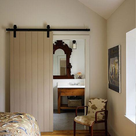DazHom® Rail de porte coulissante 200 cm, Poulie de rail suspendu de porte de grange de 200 cm, porte simple classique