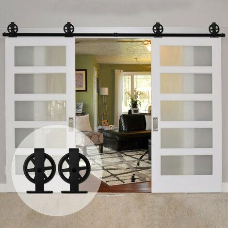 DazHom® Rail de porte coulissante 200CM Rail de suspension de porte de grange de 200 cm Grande roue Emballage en coton non perlé en forme de T - Porte simple