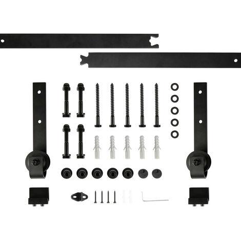 DazHom® Rail de porte coulissante 244cm ensemble de poulie de rail de suspension de porte de grange, porte simple de style ordinaire à trois sections