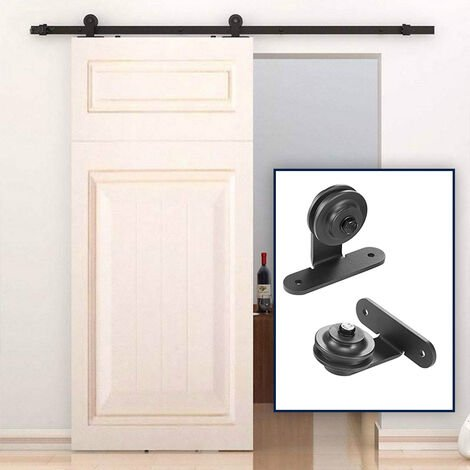 DazHom® Rail de porte coulissante Ensemble de poulie de rail de suspension de porte de grange de 183 cm, porte simple à crochet en T