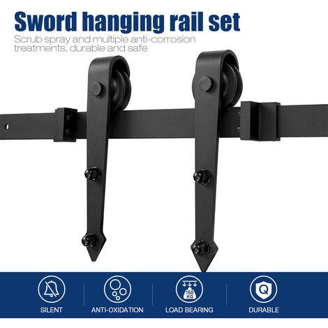 DazHom® Rail de porte coulissante Ensemble de poulie de rail suspendu de porte de grange de 200 cm, crochet en forme d'épée, porte simple
