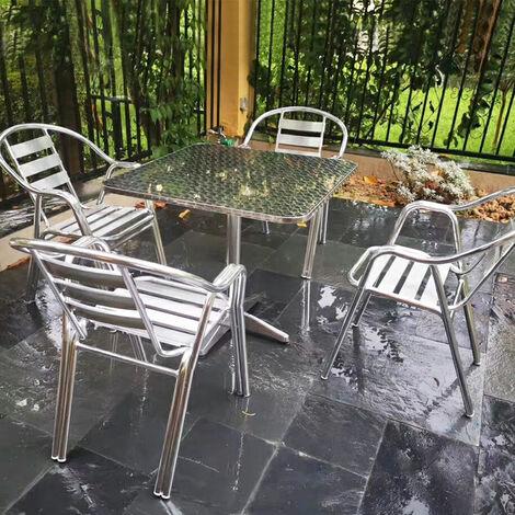 """main image of """"DazHom® Table à manger en aluminium carrée en acier inoxydable 60 * 60 * 70 / 110cm hauteur réglable"""""""