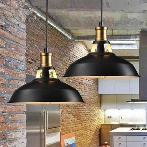 DazHom®2 x Rétro Lustre Suspension Luminaire Style Industrielle pour Salon Couloir Cuisine