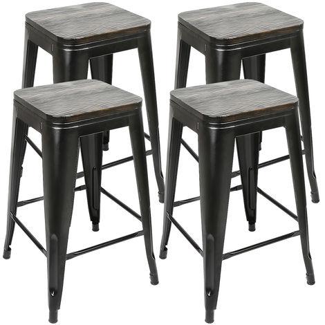 DazHom® 4 pièces de chaise haute de style industriel en fer forgé avec planche de siège noir + planche de siège marron