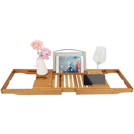 DazHom®Support de baignoire Support de baignoire en bambou télescopique multifonctionnel 70-105cm * 23 * 3cm