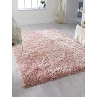 Dazzle Modern Thick Silky Shiny Blush Pink Yarn Soft Shaggy Rug
