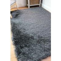 Dazzle Modern Thick Silky Shiny Charcoal Yarn Soft Shaggy Rug