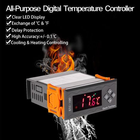 DC 12V LED Termostato de control de temperatura digital, con sensor NTC, ¡æ y ¨H