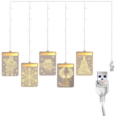 DC 5 V 12 W 3-D Pendentif fee lumieres LED rideau USB Powered chaine lampe Operee Elk Pere Noel pour la fonction Chambre Design Noel Chambre Maison de la fete de mariage quotidien deco interieure a l'usure presente exterieur, blanc chaud, orignal