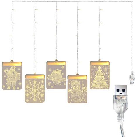 DC 5 V 12 W 3-D Pendentif fee lumieres rideau Guirlande LED lampe USB avec bonhomme de neige Powered Exploite Pere Noel pour la conception de Noel Accueil Salle de reception Chambre de la fete de mariage Daily Deco interieur a l'exterieur reelle utilisati