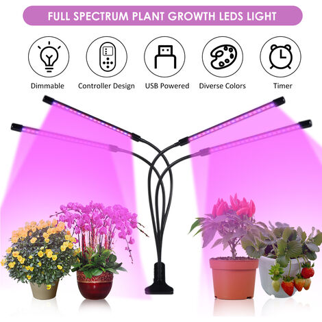 DC 5 V 32 W 4 H-ead Crecimiento planta que crece abrazadera del clip de la lampara de Flora Luz USB con alimentacion Operado con regulador teledirigido / Linea 3 Niveles temporizador de sincronizacion T-IME ajuste de la funcion / ajustables de brillo regu