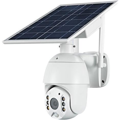 Dc06 (Wifi) 1080P Camera Solaire Intelligente Pan Tilt-Powered Sans Fil Minitor Plug-In Gratuit Ip67 Night Vision Temps Reel Voix Intercom Detection De Mouvement D'Alarme, 16G