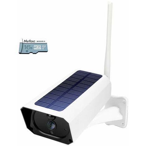 Dc08 Wifi Solaire Camera 1080P Sans Fil Minitor Plug-In Gratuit Ip67 Night Vision Temps Reel Voix Intercom Detection De Mouvement D'Alarme, 16G