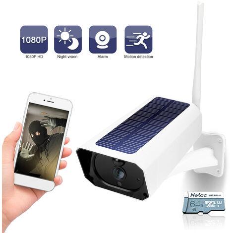 Dc08 Wifi Solaire Camera 1080P Sans Fil Minitor Plug-In Gratuit Ip67 Night Vision Temps Reel Voix Intercom Detection De Mouvement D'Alarme, 64G