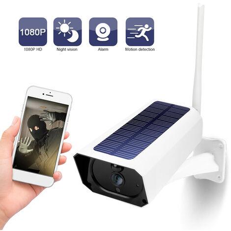 Dc08 Wifi Solaire Camera 1080P Sans Fil Minitor Plug-In Gratuit Ip67 Night Vision Temps Reel Voix Intercom Detection De Mouvement D'Alarme