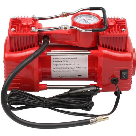 Dc12V Double Cylindre Compresseur D'Air Portable Gonfleur De Pneu De Voiture De Secours Pompe A Air Avec 3 Tube Prolonge Buses De Transport