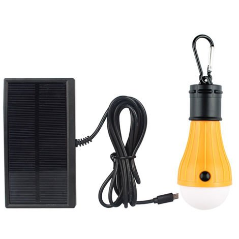 DC5V 2.5W 3 LED Solar Powered Energy Light Bulb with Solar Panel Strong Bright/ Weak Bright/ Flash 3 Lighting Modes Effects, type 1