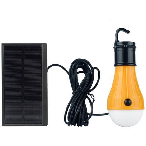 DC5V 2.5W 3 LED Solar Powered Energy Light Bulb with Solar Panel Strong Bright/ Weak Bright/ Flash 3 Lighting Modes Effects, type 2