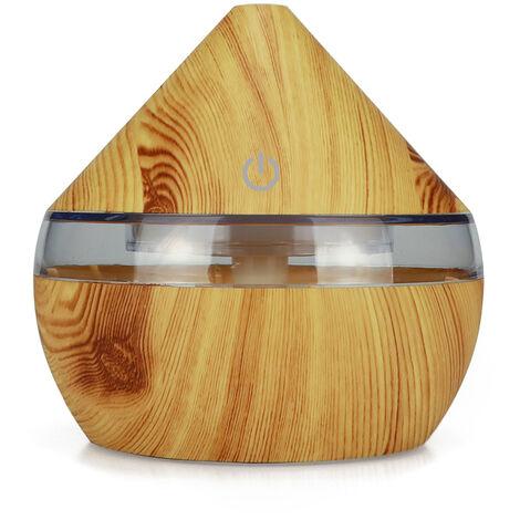 DC5V 2W 300mlUSB humidificateur diffuseur d'arome de voiture de bureau 7 couleurs claires grain de bois clair