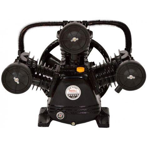 DCRAFT | Compresseur d'air à deux pistons lubrifiés à l'huile | Débit de pompe 670 l/min | 3 cylindres | Outil chantier atelier - Noir - Noir