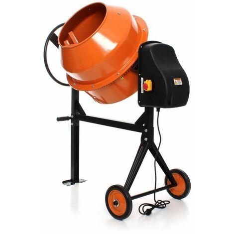 DCRAFT - Bétonnière électrique - Capacité du tambour 180L - Puissance du moteur 1250W - Matériel de construction - Orange