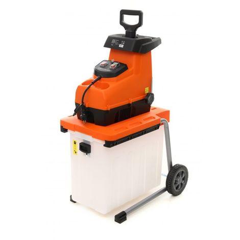 DCRAFT | Broyeur de végétaux | Moteur éléctrique Puissance nominale 2500W | Doubles couteaux + Panier | Outillage jardin pelouse | Orange - Orange