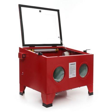 DCRAFT | Cabine de sablage 80 litres | Sableuse avec pistolet de sablage et éclairage | Microbilleuse | Sableuse à manchons compacte | Rouge - Rouge