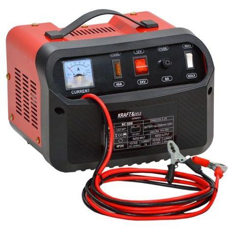 DCRAFT   Chargeur batterie voiture 12/24 V Ampérage charge 20A   Capacité batterie 60/200Ah   Ampèremètre + Protection polarités   Rouge/Noir - Rouge/Noir