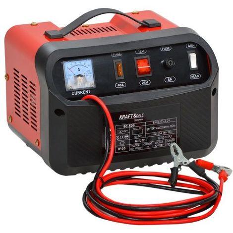 DCRAFT   Chargeur batterie voiture 12/24V   Courant charge 50A   Capacité batterie 120/320Ah   Ampèremètre Fusibles 40A + 8A   Rouge/Noir - Rouge/Noir
