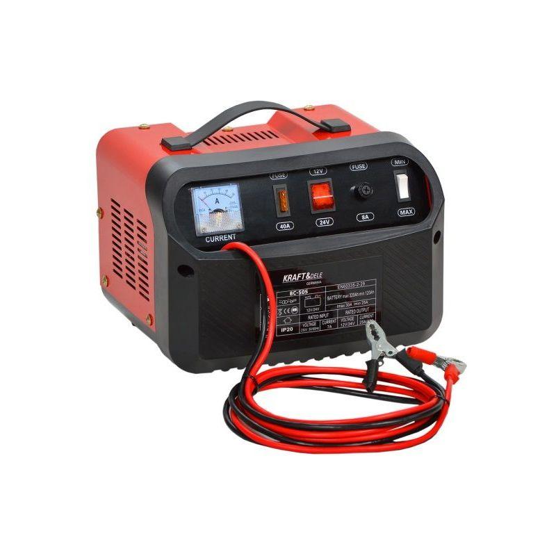 Hucoco - DCRAFT - Chargeur batterie voiture 12V/24V Ampérage charge 30A - Capacité batterie 90/250Ah - Ampèremètre + Protection polarités - Rouge/Noir