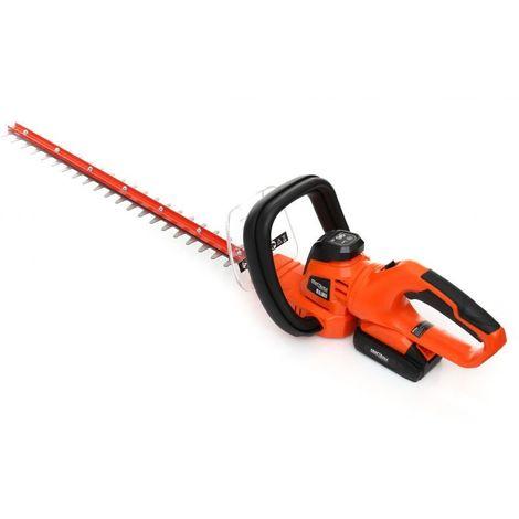 DCRAFT - Cisailles à haies électriques sans fil - Batterie 1500 mAh - Largeur coupe 520 mm - Outillage électroportatif jardinage - Orange