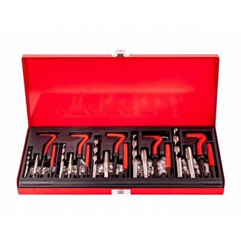 DCRAFT - Coffret avec outils - 131 pièces - Mallette avec outils - Acier trempé - Filets + Broches + Tarauds - Rouge