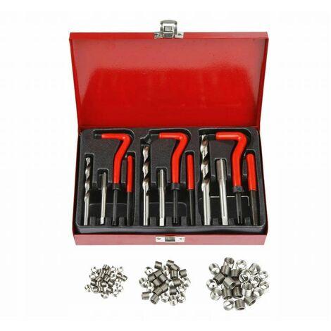 DCRAFT - Coffret outils - 88 pièces - Mallette avec outils - Acier trempé - Forets + tarauds + broche + filets - Rouge
